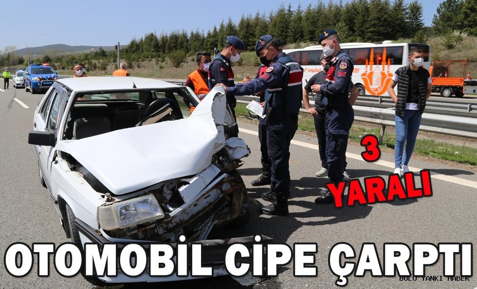 Otomobil cipe çarptı: 3 yaralı