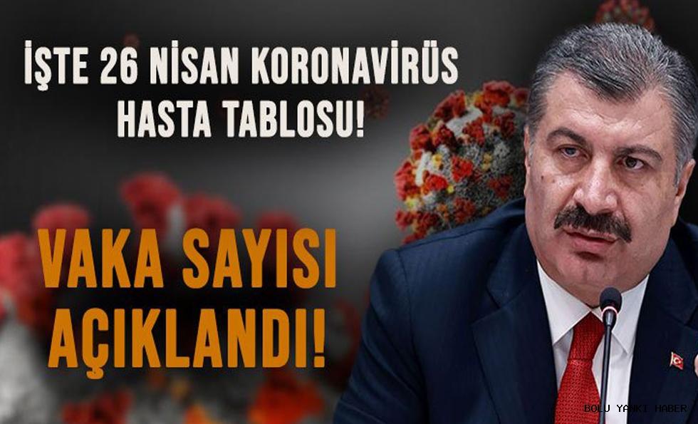 26 Nisan Türkiye'nin koronavirüs tablosu