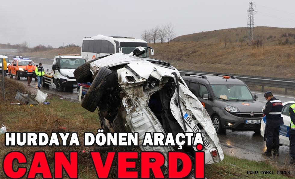 Anadolu Otoyolu'nda takla atan otomobildeki 1 kişi öldü