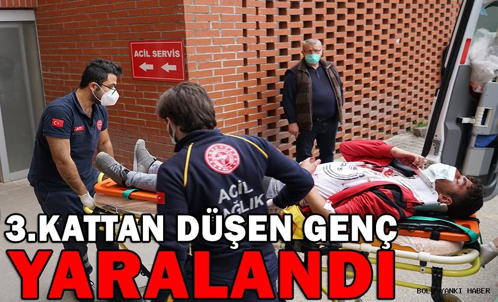 Bolu'da apartman düştükten sonra kaçan genç hastaneye kaldırıldı
