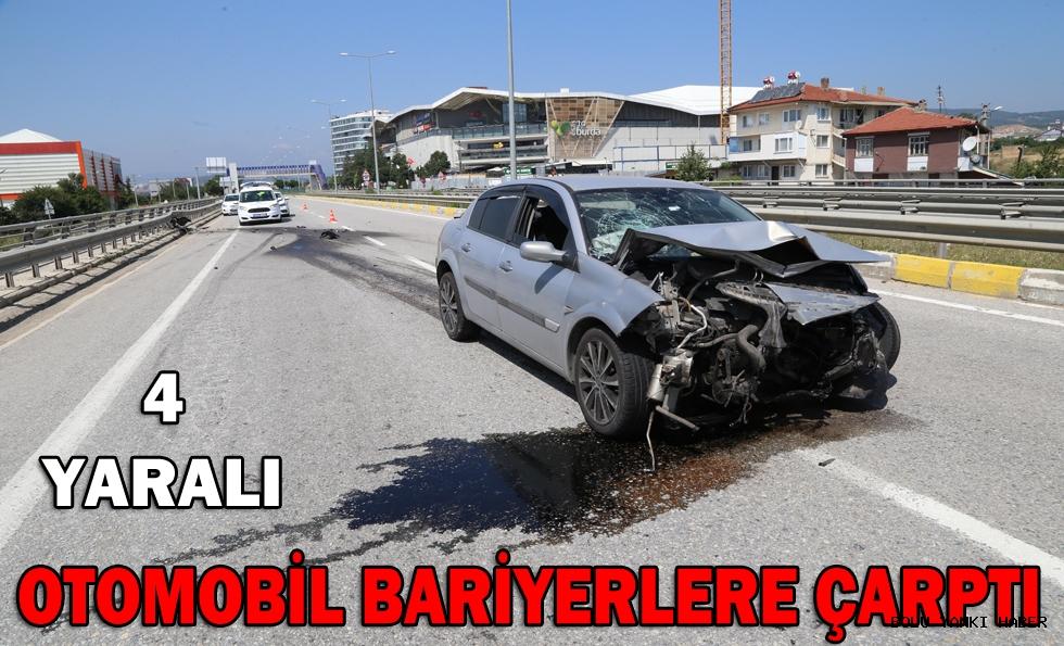 Bolu'da otomobil bariyerlere çarptı: 4 yaralı