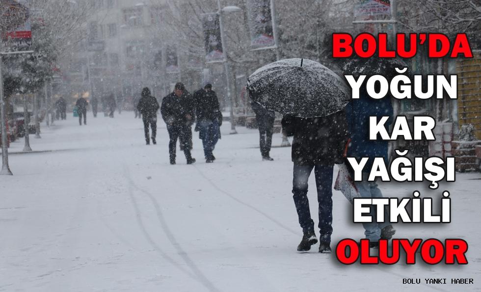 Bolu'da yoğun kar yağışı etkili oluyor