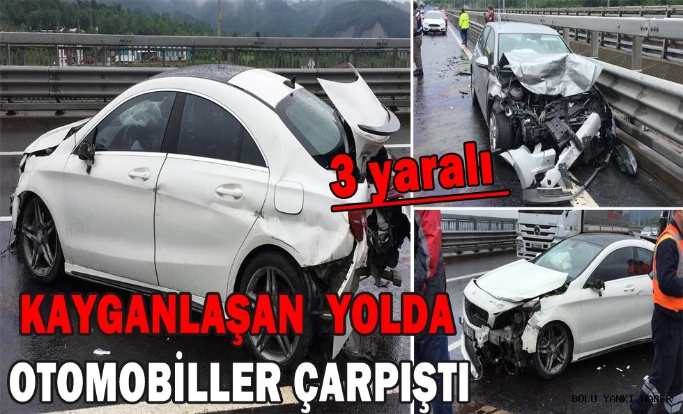 Kayganlaşan yolda otomobiller çarpıştı: 3 yaralı