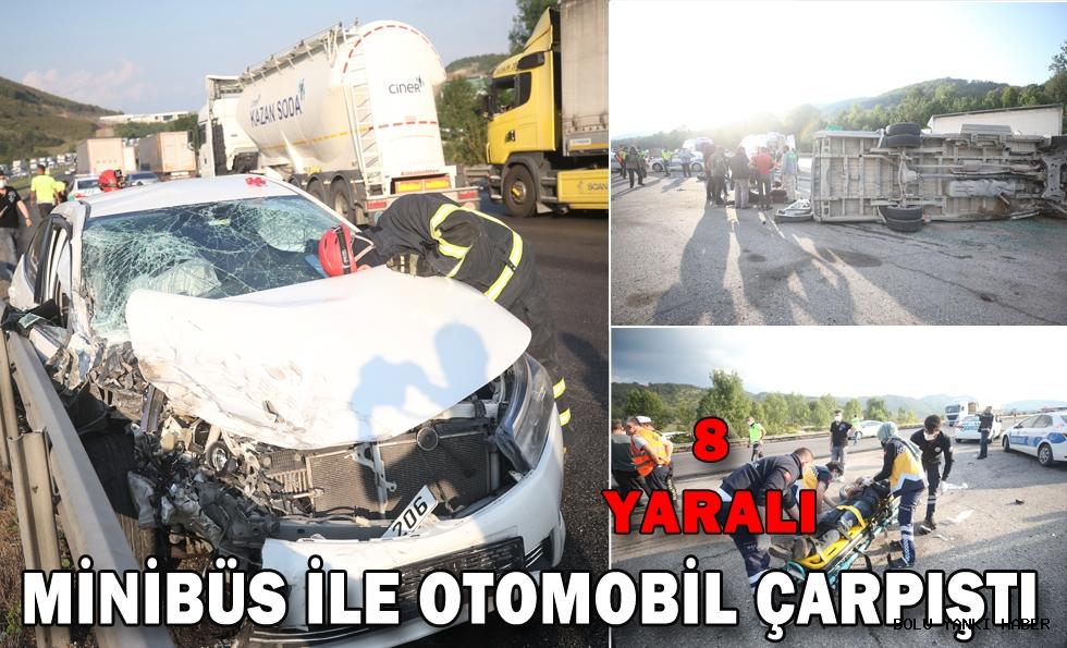 Minibüs ile otomobil çarpıştı: 8  yaralı
