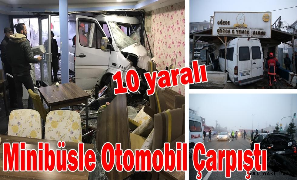 Minibüsle Otomobil Çarpıştı: 10 yaralı