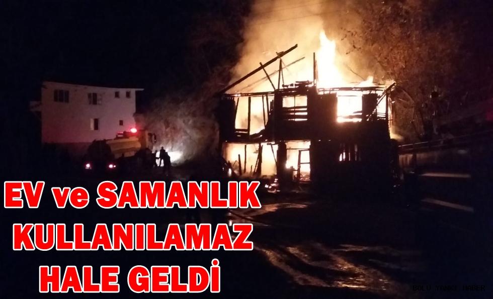 Mudurnu'da ev ve samanlık yangını