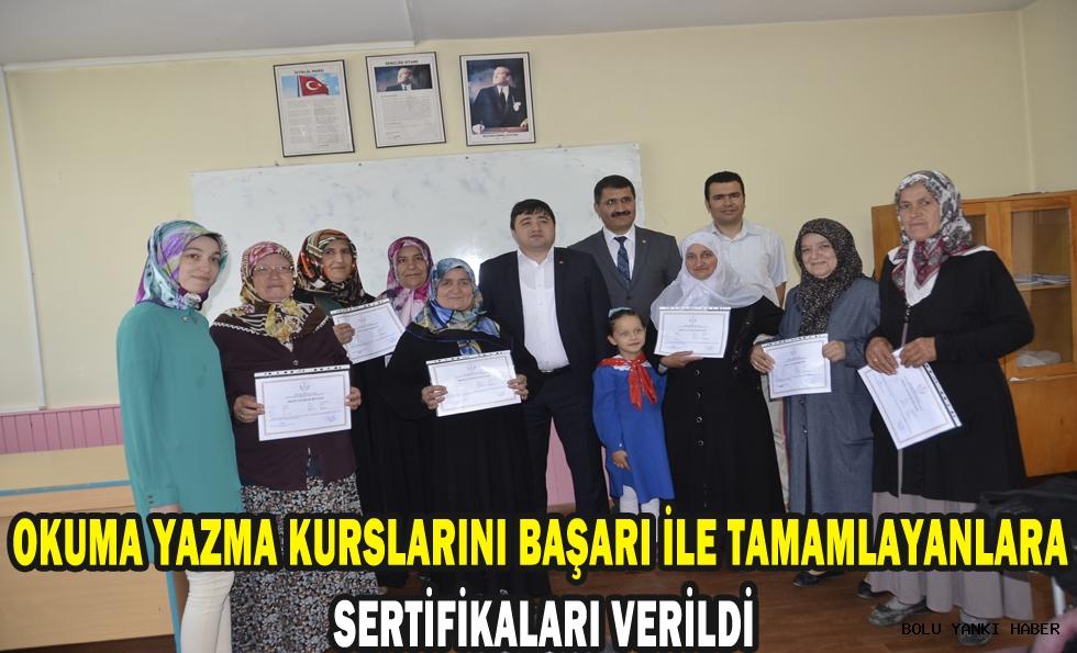 Okuma yazma kurslarını başarı ile tamamlayanlara sertifikaları verildi