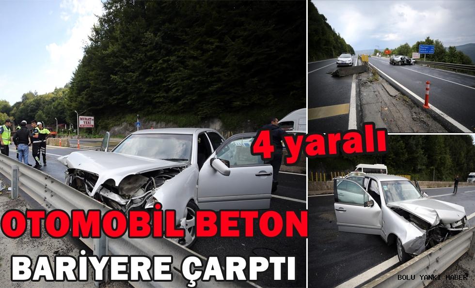 Otomobil beton bariyere çarptı: 4 yaralı