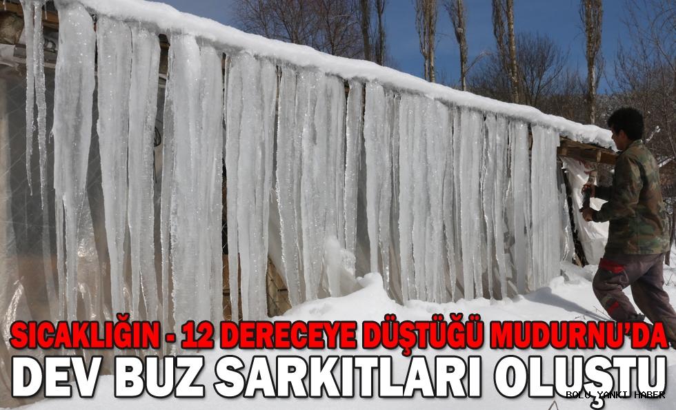 Sıcaklığın eksi 12 dereceye düştüğü Mudurnu'da dev buz sarkıtları oluştu