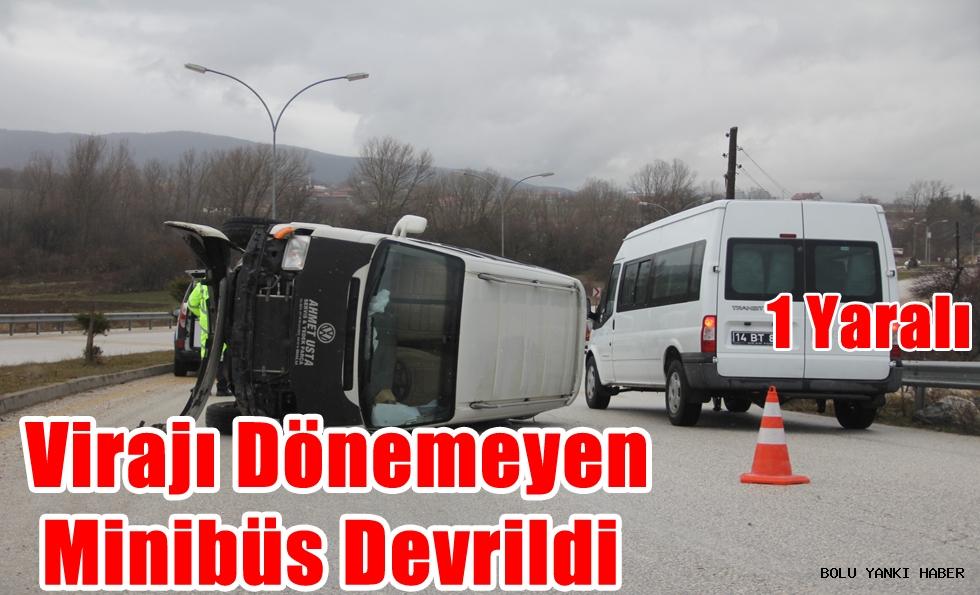 Virajı dönemeyen minibüs devrildi: 1 yaralı