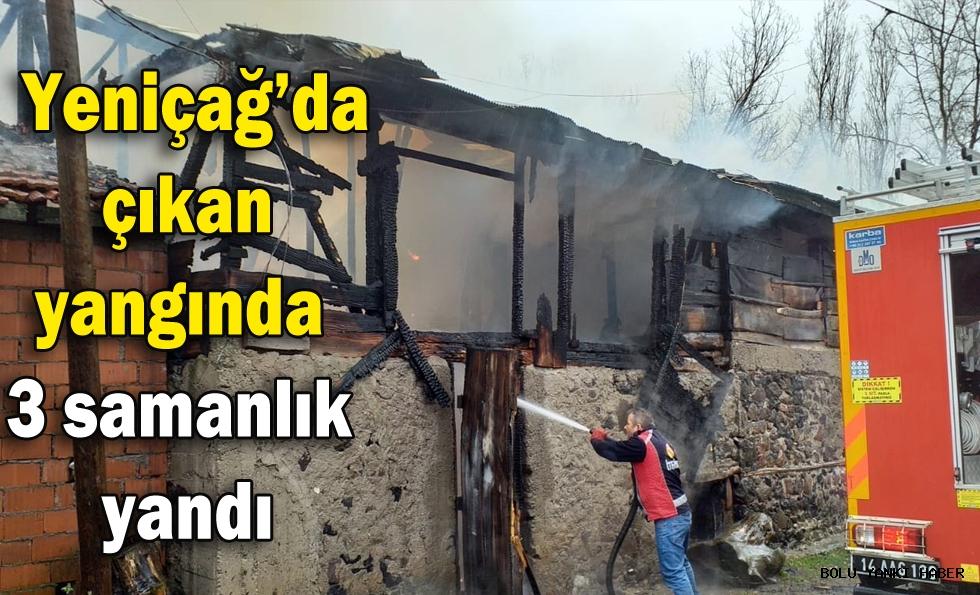 Yeniçağ'da çıkan yangında 3 samanlık  yandı